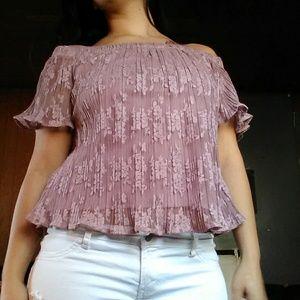 Socialite smoke pink laced blouse